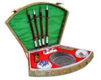 Wholesale Chinese calligraphy brush pen ink Inkstone tool box set