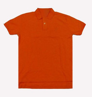 Wholesale 2013 Hot selling Men s orange solid color tee shirts cotton Man desginer lapels t shirts