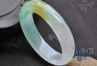Wholesale Green white and yellow three colour jade jadeite jade bangle Customize your bracelet size
