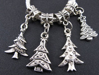 Wholesale 100 Tibetan Silver Christmas Tree Dangle Charms Beads Fit European Bracelet Jewelry DIY