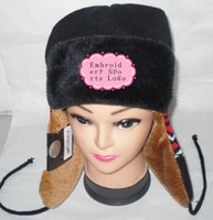 Wholesale Fashion Warm Womens Winter Hats Fur Sports Hats The Team Trapper Hats Embroidery Sports Logo Black