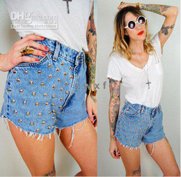 Wholesale East Knitting LJ HOT Metallic Punk High Waisted Grey brads Rivet studs Jeans Denim frayed Shorts
