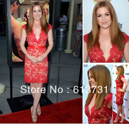 Wholesale Isla Fisher at Bachelorette Premiere V Neck Knee Length Red Lace Cocktail Celebrity Evening Dresses