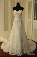 Wholesale 2012 NEW Vintage white Ivory Lace Train Bridal Gown Wedding Dress Custom Lace Wedding Dresses