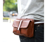 Wholesale 5pcs new style waist bag packs bag for men leather swagger travel bag high quality drop shipping