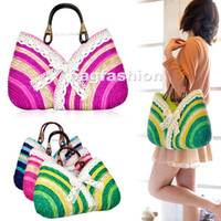 Wholesale 2012 summer straw bag Sweet lady Rainbow Handbags beach bag handbag drop shipping