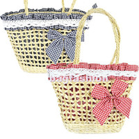 Wholesale Women s Fashion summer straw bag Sweet ladies beach bag Bowknot Lace bags handbags dr