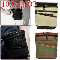 Wholesale 10PCS Classic Vintage Mini Canvas Waist Bag Men Wallet Purse Besiness Style Phone Pocket Color