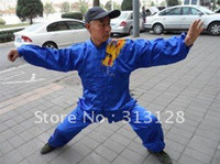 Wholesale fine blue kungfu suit with a dragon
