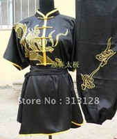 Wholesale wushu uniform with embroideried golden dragon