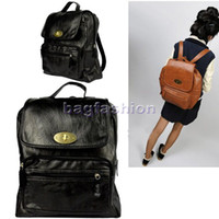 Wholesale casual women backpack retro bag PU Leather handbag Double Shoulder Pack colors shoulder Satchel ba