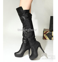 Wholesale Ladies Elastic Leather Like Over Knee High Boots Long Boots Sexy High Platform Stiletto Heel Boots