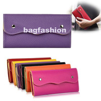 Wholesale Fashion wallets ladies purse Leather Sugar Color Double Button envelope Clutch bag Handbag Colors