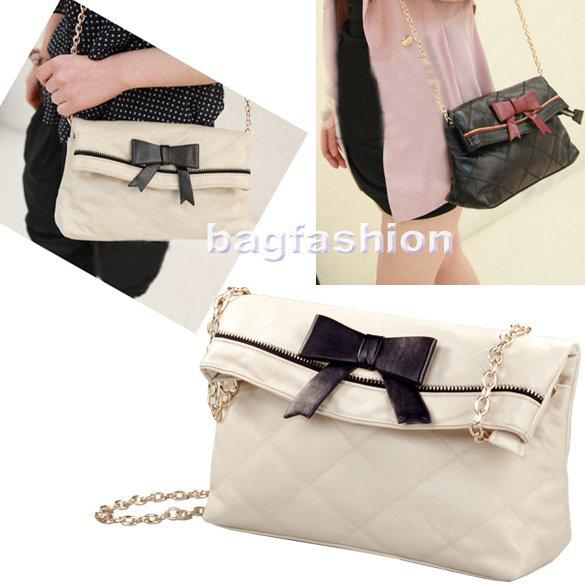Korea Fashion Bag Cute Bowknot Designer Handbag Retro Rhombus ...