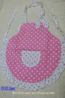 Wholesale Kid Size Girl s Pink Dot polka Cotton Apron kitchen cooking baking supplies