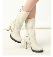 Wholesale New Off White Mid Boots With Zipper Side High Heel Keep Warm Quality Winter Boots For Women Colors