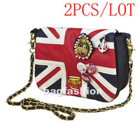 Wholesale 2PCS New Fashion Blue Flag Union designer bags Jack Badge Chain PU leather ladies handbag UK fl