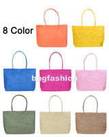 Women Plain Straw 8pcs lot Pure woven bag Summer bags 2012 Beach bag Straw handbag tote Bag big 8 Color drop shipping