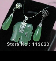 Bracelet,Earrings & Necklace   green jade elephant Jewellery necklace Pendant earring Set