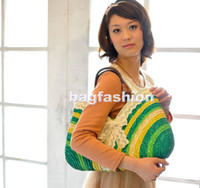 Wholesale 5pcs summer straw bags beach bag women Sweet Rainbow Handbags totes bag drop shipping