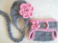 Wholesale 5 sets New Arrival crochet baby set Knit Baby girl Hat diaper sets kids photogryphy props