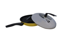 Wholesale 32cm Yellow Nonstick Frypan Ceramic Non stick Deep Fry Pan Nonstick Cookware EMS free