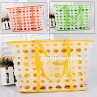 plastic tote - Stylish Plastic bag Women s Wave Point Hollow Out Handbag fashion Tote Bags Shoulder summer Beach ba