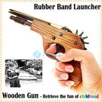 Wholesale Classical Rubber Band Launcher Wooden Toy Pistol Gun Great Christmas Gift for you and your son