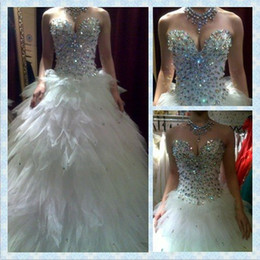 Wholesale 2013 New Arriva Heavy Crystal Sweetheart Neckline Tulle Ball Gown Wedding Dress Bridal Gown