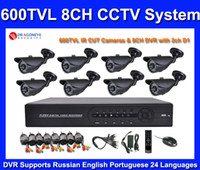 Wholesale 8ch DVR Kit with TVL Waterproof IR Cameras DIY ch CCTV DVR System for Home and Businss Seucurit