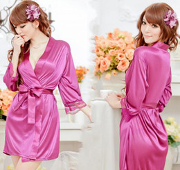 Wholesale Women Sexy Satin Lingerie Chiffon Plus Size Bathrobe Sleepwear Nightdress Robes Lace G String Gown