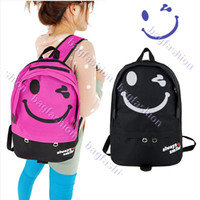 Wholesale Fashion Women s Smile Face Pattern Canvas Backpack Knapsack Cute Bookbag Laptop Bag Color
