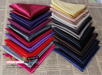 ascot scarf men - Male suit formal dress accessories pocket towel solid color faux silk scarf handkerchief multicolor