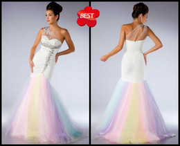 Wholesale Mermaid Sweetheart One shoulder Floor Length Beaded Applique Net Tulle Evening Prom Dresses