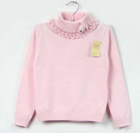 Wholesale Children Pullover Girls Lace Collar Sweaters Kids Turtle Neck Pullover Fashion Knitting Sweater Kids
