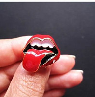 Wholesale 2013Hot Sale Punk Ring Lips Big Tongue Shape Womens Mens Couple Rings Jewelry