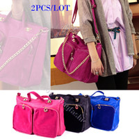 Wholesale 2PCS Best Selling Bright Color Solid Bags Fashion Design With Chains Womens Tote Handbags Pu Bag