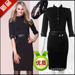 Wholesale Retro women career dresses stand collar half sleve Autumn slim dress ladies workk dress black skirt