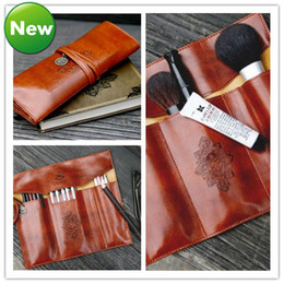 Wholesale New style PU Leather Classic Tether Pencil Bag Pen Case Pocket Cosmetic Pouch Retro twilight coi