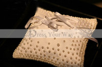 Wholesale 2015 Real Sample Wedding Favor Champange Ring Pillows Satin Luxury Pearls Adorned with Ribbon Bow High quality