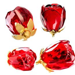 Wholesale 2015 New Gorgeous Crystal Rose Flower quot Long Stemmed Red Glass Handicraft Flower Bud Love Forever Valentines Gift Romantic Wedding Gift