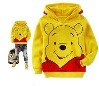 2-9year baby pooh - Autumn winter children s wear long sleeve cap unlined upper garment winnie the pooh cotton upset gua