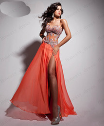 Wholesale Tony Bowls Orange Corset Bodice Sheer Prom Dress High Slit Sweetheart Floor Length Beaded