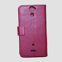 Wholesale 40pcs Litchi Wallet Leather Case With Credit Card Holder Cover with Stand For Sony LT25i Xperia V