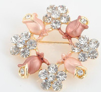 Wholesale New Fashion Jewelry Pink Brooches Crystal Brooch Pins colorful rhinstone Flower brooches Chiristmas Gift