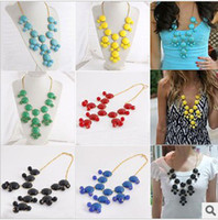 Wholesale 12 Colors Bubble Bib Statement Necklace Choker Jewellery Round Acryl Beaded yw