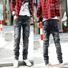 Wholesale 2013 New Arrival Fashion Korean Men Jeans Casual Jeans Straight jeans Slim jeans Washed Patch jeans