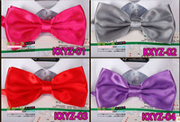 Wholesale 01 rose red Fashion dress bow tie Men influx of people bow tie solid color bow tie