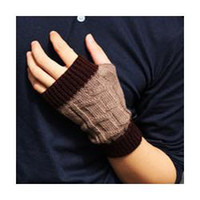 Wholesale freeshipping Trend new boys gloves winter warm short half men s gloves wool fingerless mitts