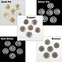 Wholesale 500pcs Flower End Bead Caps Charms mm Gold Silver Bronze Copper Dull Silver